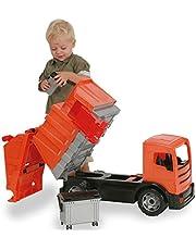Lena 02166 - Starke Riesen vuilniswagen, Giga Trucks vuilniswagen ca. 72 cm, vuilnisvrachtwagen met 2 assen en 2 kliko's, vuilnisauto oranje, XXL speelgoedvoertuig vanaf 3 jaar