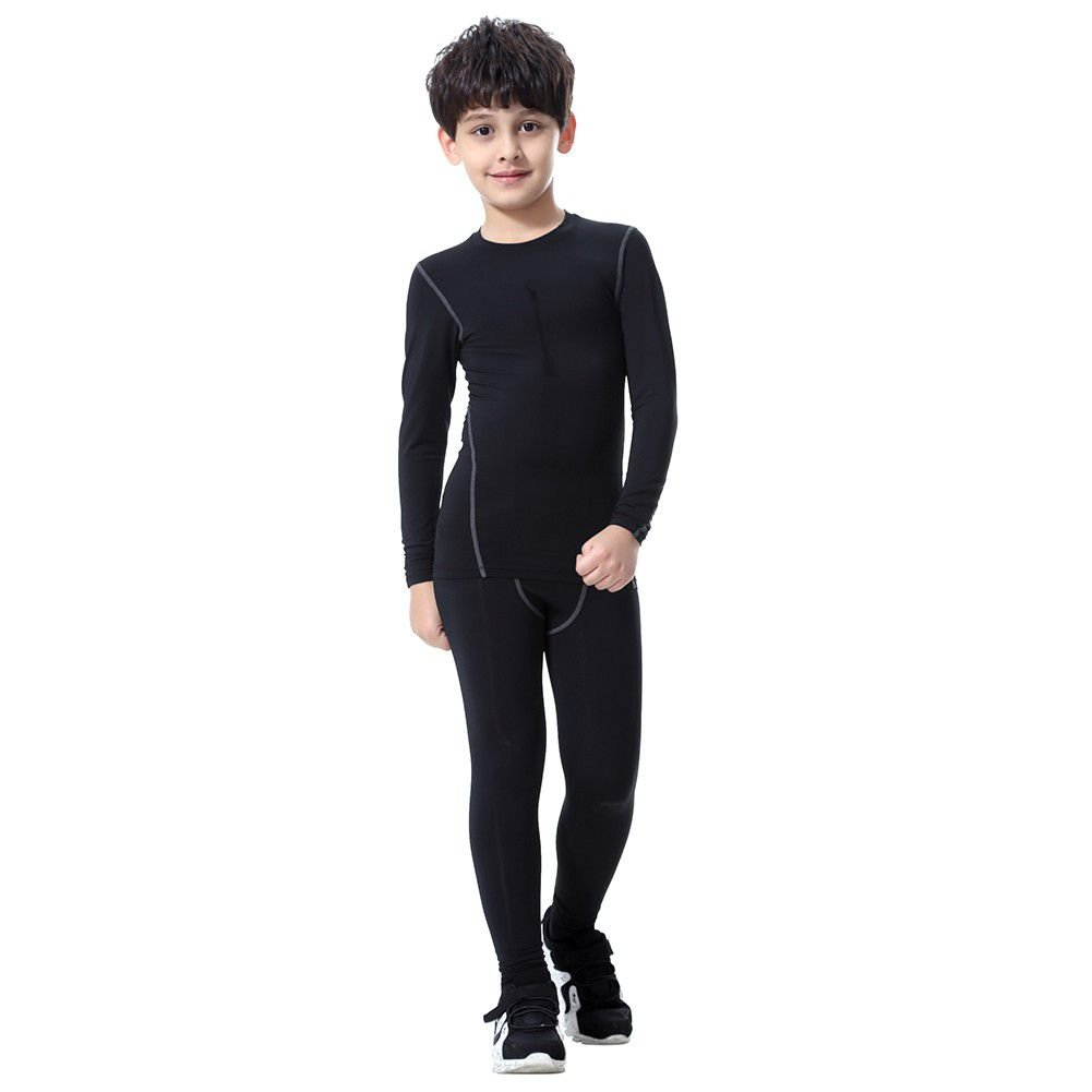 Children Football Base Layer Compression Underwear Set 2pcs Thermal Long John for Kids