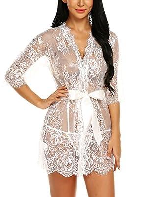 Avrilove Women's Kimono Eyelash Lace Robe Babydoll Lingerie Mesh Chemise Nightdress Nightgown