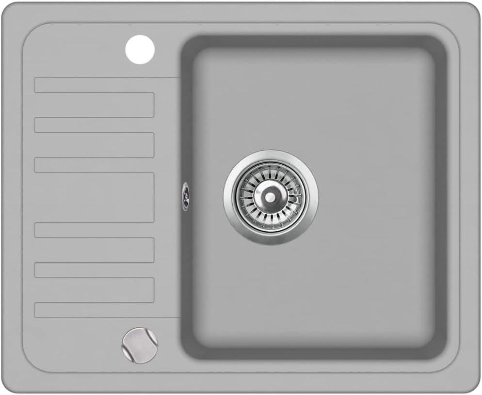 Schwarz, Typ 3 - Einzelbecken UnfadeMemory K/üchen Granitsp/üle Sp/üle Granit Sp/ülbecken Einbau//Unterbau K/üchensp/üle Schmutzabweisend und Kratzfest Design K/üchenbecken Auflagesp/üle
