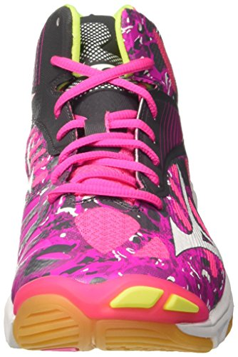 Mizuno Women's Wave Lightning Z4 Mid WOS Volleyball Shoes, Rose/Gris/Blanc Pink (Pinkglo/White/Irongate 90)