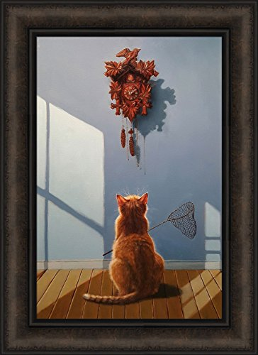 A Timely Lunch by Lucia Heffernan 16x22 Orange Cat Cuckoo Clock Bird Net Funny Humorous Pet Framed Animal Art Print Picture