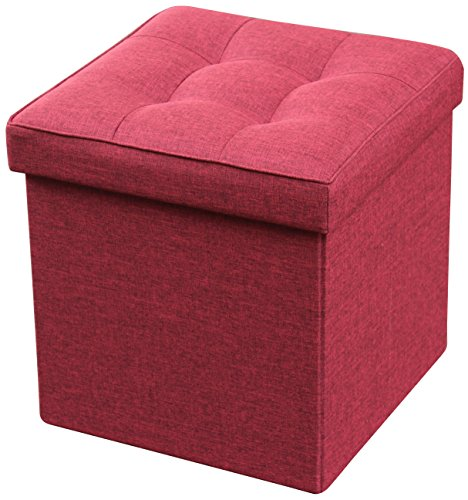 Storage Ottoman Foldable with Square Padded Seat 15 x 15 (Burgundy)