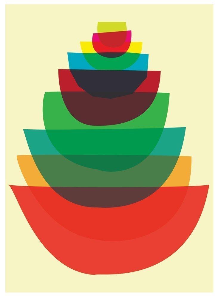 Amazon Com Bowl Stack Kitchen Print Mid Century Modern Mod Style Art Print Handmade