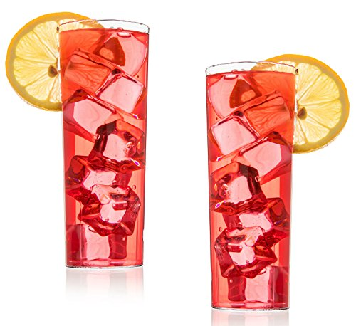 12 Hard Plastic Highball Drinking Glasses, 10 oz Highball Glass Tall Collins Glass Scotch Glasses Whiskey Glasses Drinking Glasses Highball Glasses Tall Bar Glass Party Wedding Cups Smoothie Glass