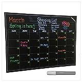 Calendario de pared–grande pizarrón de vinilo. Smart mensual planificador de borrado en seco. Organizador de borrable y reutilizable, fácil de configurar para el hogar, oficina, salón de clases, cocina. Bonus Premium blanco gis líquida 60.2x 45cm