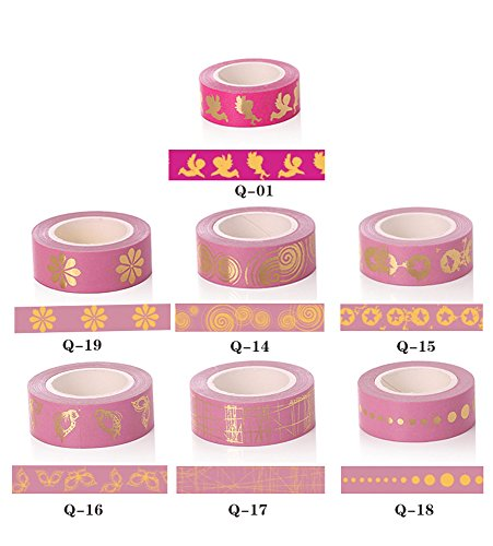 Ribbon Adhesive Paper (Uesae Paper Tape Washi Tape Masking Tape Glitter Sticker Adhesive Tape Roll Satin Ribbon DIY Decorative Solid Color Pink for Kids Students DIY Sticker Tape Scrapbook Len 10M 7Pcs)