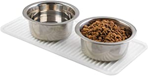 mDesign Premium Quality Pet Food and Water Bowl Feeding Mat for Cats and Kittens - Waterproof Non-Slip Durable Silicone Placemat - Raised Edges, Food Safe, Non-Toxic - Small - Clear