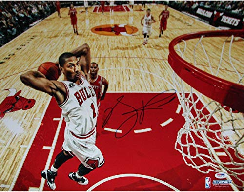 Derrick Rose Chicago Bulls Dunk vs Rockets Signed Horizontal 16x20 Photograph () - PSA/DNA Certified