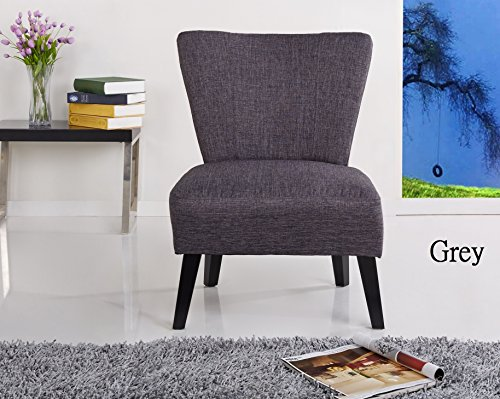Contemporary Upholstered Accent Chairs (Container Furniture Direct Alice Collection Contemporary Upholstered Fabric Armless Living Room Accent Chair, Grey)