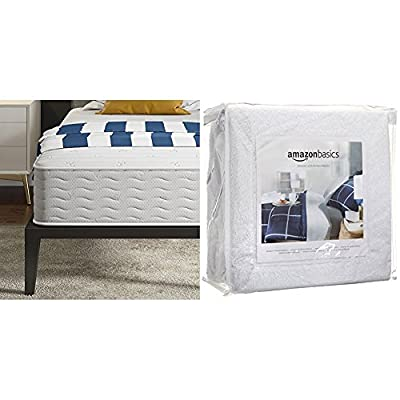 Signature Sleep Contour 10 Inch Reversible Independently Encased Coil Mattress with CertiPUR-US certified foam, Twin with AmazonBasics Hypoallergenic Vinyl-Free Waterproof Mattress Protector, Twin