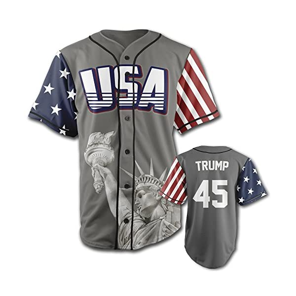 Greater-Half-Custom-Baseball-Jersey-Button-Down-USA-Grey-Trump-45-Small-4XL