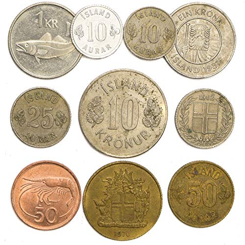 10 Coins from Iceland Atlantic Island Icelander Coins: AURAR, Krona. Perfect Choice for Your Coin Bank, Coin Holders and Coin Album
