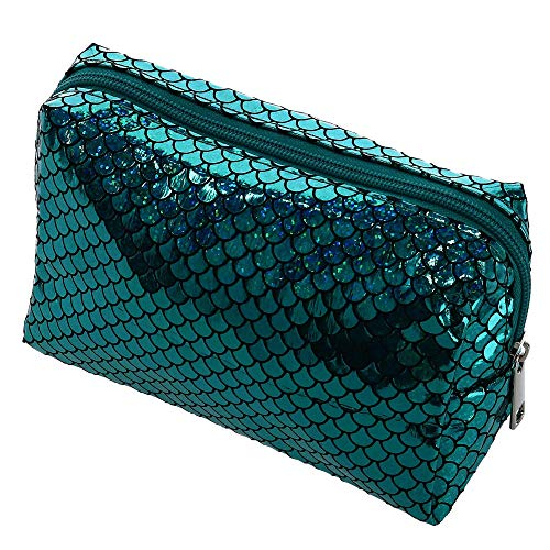 CTM Women's Mermaid Scale Iridescent Cosmetic Travel Bag, Blue