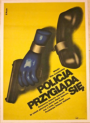 VINTAGE 1975 POLISH LINEN BACKED POSTER - POLICJA PRZYGLADA SIE-COOL POLICE ART