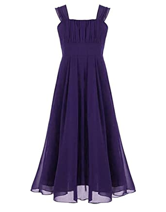 LaoZan Kids Girls Maxi Dresses Sleeveless Princess Wedding Bridesmaid Party Prom Birthday Dress Dark Purple for