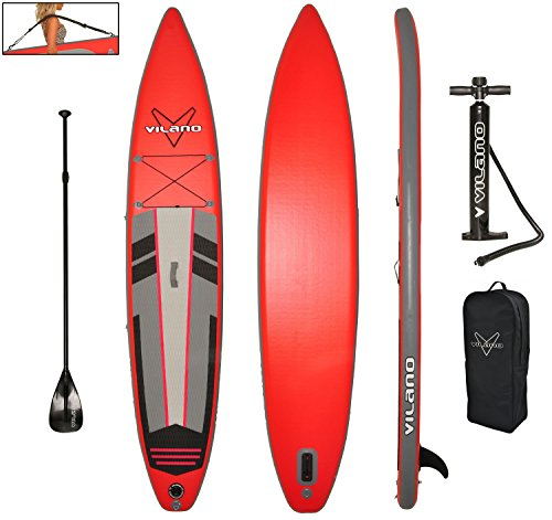 Vilano 12' Inflatable Touring / Race SUP Stand Up Paddle Board, 6' Thick