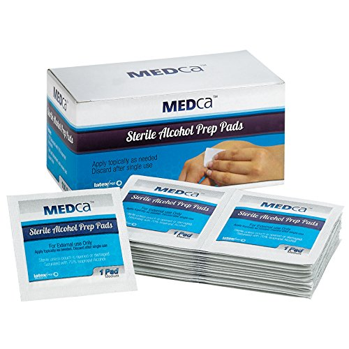 MEDca Alcohol Prep Pads, Sterile, Medium, 2-Ply PACK OF 100 ()