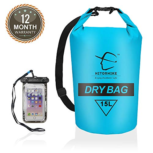 Hitorhike 15L 25LWaterproof Dry Bag- Roll Top Dry Compression Sack Keeps Gear Dry for Kayaking, Beach, Rafting, Boating, Hiking, Camping and Fishing with Waterproof Phone Case (BLUE-15L)