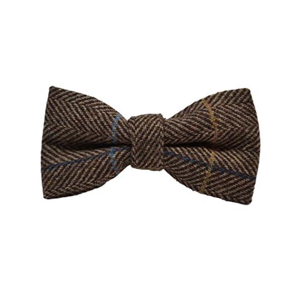 Luxury-Walnut-Brown-Herringbone-Check-Bow-Tie-Tweed