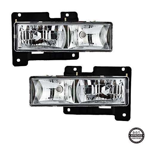 (Replacement Headlights for Chevrolet GMC Pickup Silverado Front Passenger and Driver Side Headlamps with Chrome Housing Clear Lens Replace # 15034929, 15034930)