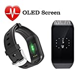 Cootrue Fitness Tracker,Heart Rate Activity Tracker Touch Screen Wearable Pedometer Bluetooth Smart Wristband with Sleep Monitor,Steps Counter,Calories Track for Android and IOS Smart Phones (Black)