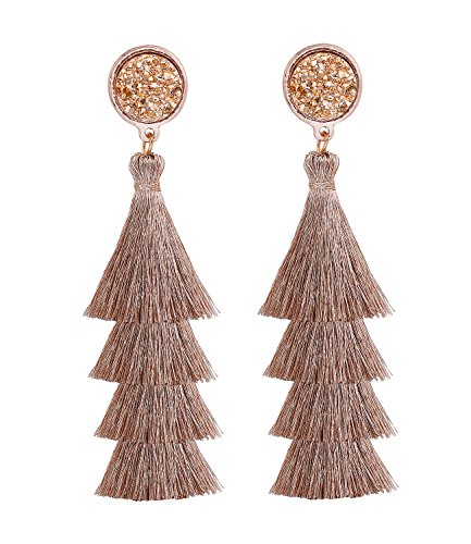 (VOGUEKNOCK Tiered Tassel Drop Earrings Druzy Round Top Earring Studs for Women (Rose Gold))
