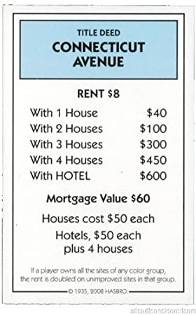 Genuine Monopoly Classic Connecticut Avenue Title Deed (Replacement/Extra) by Sir GamepartsTM: Amazon.es: Deportes y aire libre