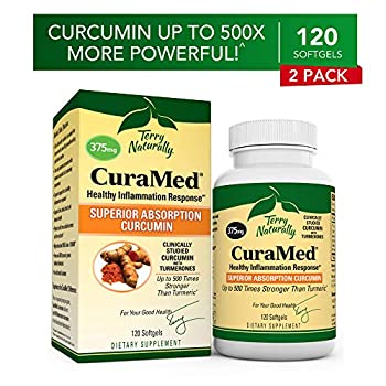 Image of Health and Household Terry Naturally CuraMed 375 mg (2 Pack) - 120 Softgels - Superior Absorption BCM-95 Curcumin Supplement, Promotes Healthy Inflammation Response - Non-GMO, Gluten-Free, Halal - 120 Servings