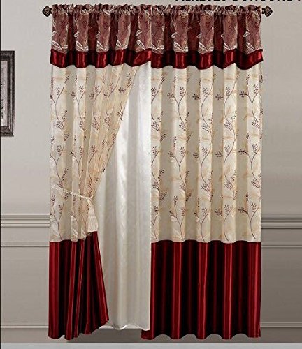 2 Pieces Embroidery Rod Pocket Window Curtains/ drape/ panels