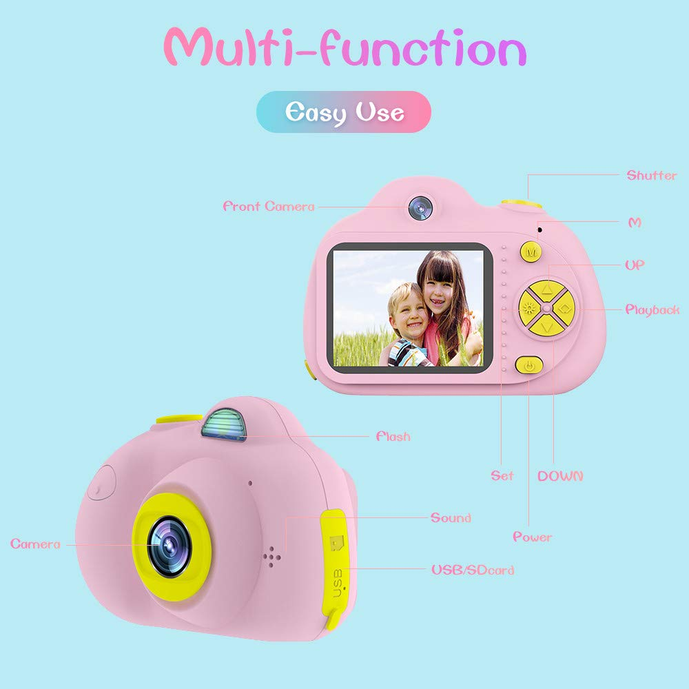 Tueker Kids Camera Toys Gifts for 4~8 Years Old Girls, Shockproof Kids Video Camera & Camcorder with Soft Silicone Shell for Outdoor Play, Pink by Tueker (Image #6)