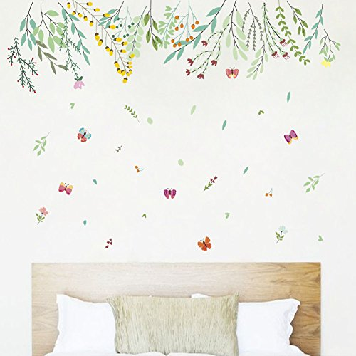 Amaonm Creative Warm Tree Branches and Green Leaves Wall Decals Removable DIY PVC Wall Stickers Wallpaper Home Wall Art Decor for Living Room Bedroom Girls Nursery Wall Corner Decoration