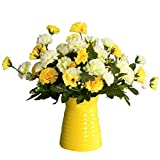 Lopkey Artificial Flower Dianthus Caryophyllus Carnation Fake Silk Flower Plastic Flower Arrangement Wedding Party Home Garden Decor Yellow