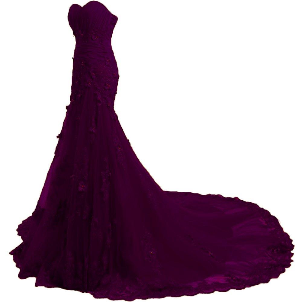 Felaladress Charming Long Appliques Sweetheart Mermaid Evening Prom Dress Purple 16