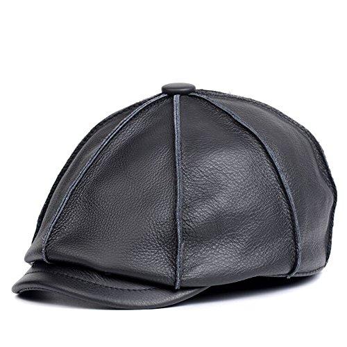 Vemolla Men's Leather Beanie Beret Hat Mens Octagonal newsboy Cap Black - Size Hat Man's A Measure How To