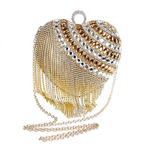 Bolso la YY1 Clutch del Borla Nocturno Seora de Silver Manera Purse Noche Color Club Diamante Banquete de Lujo la de del Gold de Bolso xX0wHp0rq4
