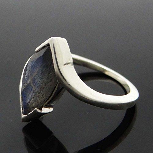 Banithani925 anneau de bande d'argent labradorite gemme pur bijoux de mode indienne