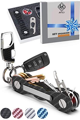 Carbon Fiber Compact Key Holder - Premium Heavy-Duty Key Organizer UP to 28 Keys -B0NUS Keychain Holder with Loop Piece for Belt or Car Keys - SIM & Bottle Opener + Video Instructions (Black Carbon)