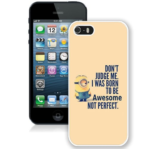 Coque,Fashion Coque iphone 5S I Was Born To Be Awsome blanc Screen Cover Case Cover Fashion and Hot Sale Design