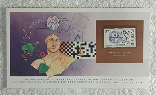 Roger Sperry - Postage Stamp (Sweden, 1984) & Art Panel - The History of Science & Invention - Franklin Mint (Limited Edition, 1986) - Split Brain Research, Two Hemispheres of The Human Brain