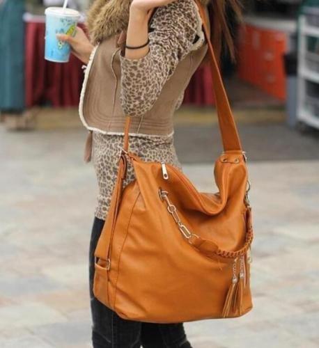 Women PU Leather CrossBody Shoulder Bag Tote Purse Satchel Messenger Handbag Color Brown