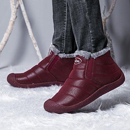 Cuir de Rouge Neige de Gracosy A à Chaussons Poiture Voir Boots Bleu Homme Marron Rouge Basses Noir Bottes Femme en Hiver Enfiler Tableau Vineux fourré Chaussures Bottines Hpq5wZqE