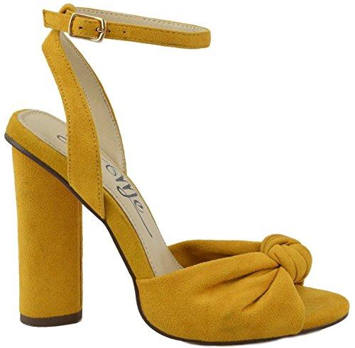 Bow Tie Open Toe (So Me Cruz Ankle Strap Cylinder Block Heel Bow Tie Open Toe Sandals Mustard 10)