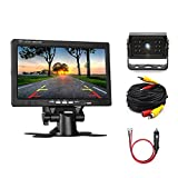 "Cheap Camecho Car Backup Camera 7"" LCD Monitor 12IRs Rear View Camera, IP 67K Waterproof 33ft Extention AV Cable + Car Charger Adapter for Truck/Van / Caravan/Trailers / Camper"