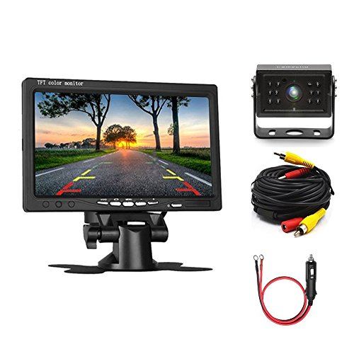 Camecho Car Backup Camera 7'' LCD Monitor 12IRs Rear View Camera, IP 67K Waterproof 33ft Extention AV Cable + Car Charger Adapter for Truck/ Van / Caravan / Trailers / - Guide Caravans Glasses