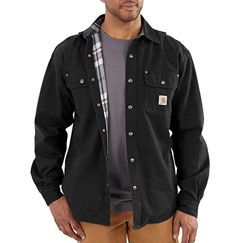 Carhartt Men's Weathered Canvas Shirt Jacket Snap Front,Black,Small