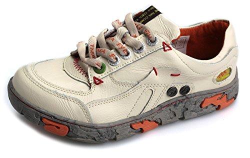 TMA Damen Schuhe Echtleder Halbschuhe Schnürschuhe 4167 Weiß