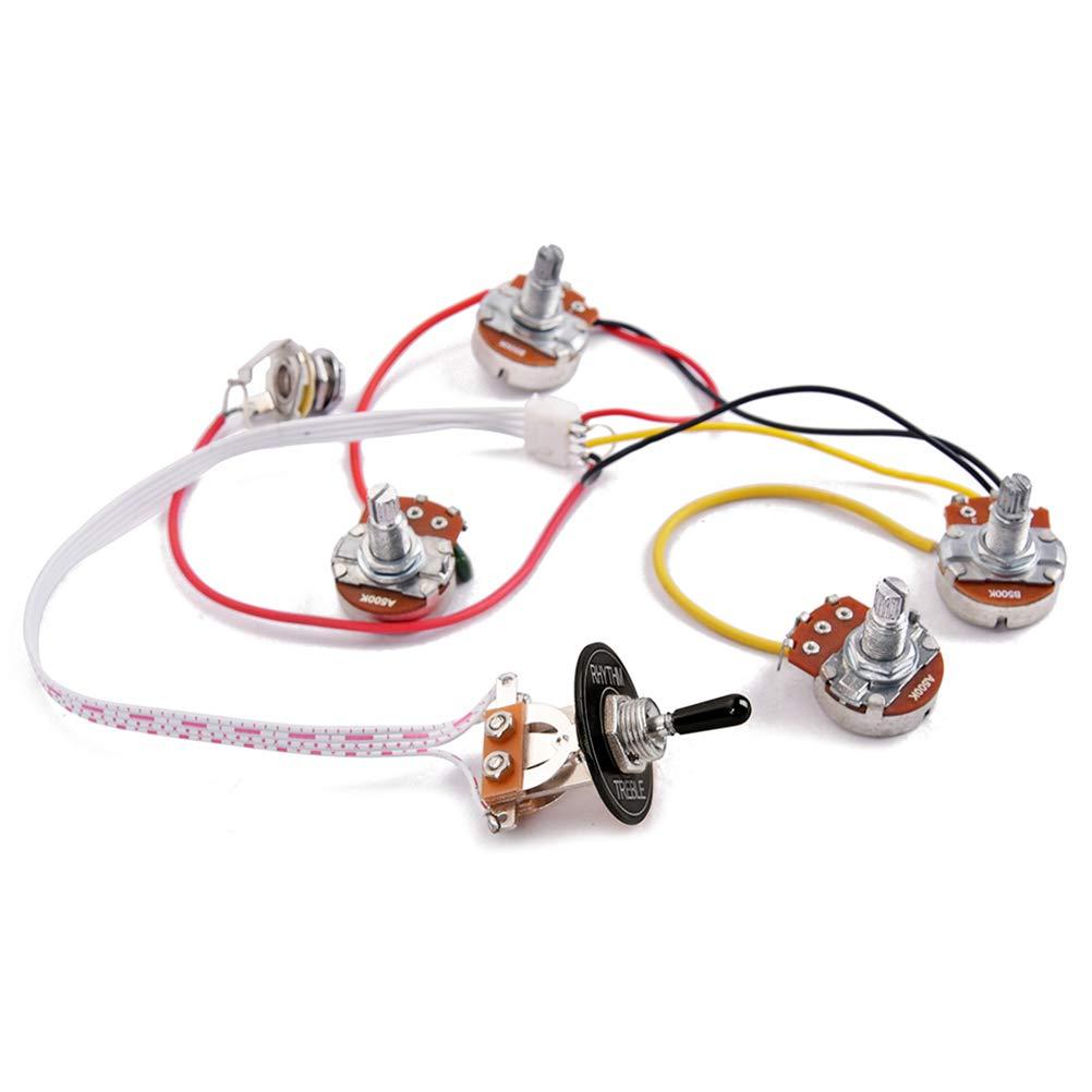 Healifty Accesorios del arn/és de cableado de guitarra Kit de arn/és de cableado de guitarra el/éctrica LP Conmutador de 3 v/ías Conector de 2 tonos y 2 tonos