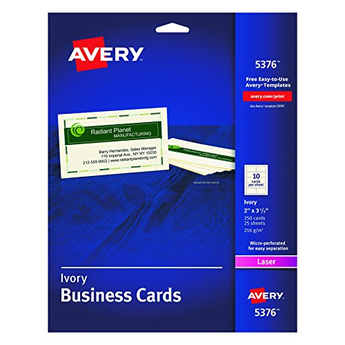 - Avery Business Cards for Laser Printers 5376, Ivory, Uncoated, Pack of 250