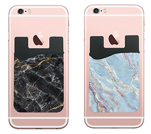 (Two) Marble cell phone stick on wallet card holder phone pocket for iPhone, Android and all smartphones. (Black/Blue)